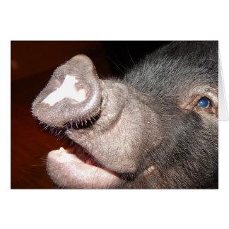 Carte Sourire personnalisé, chantant, mini porc