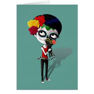 Carte Spooky Dia de Los Muertos Girl