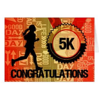 Carte Sports femelles de félicitations du coureur 5K