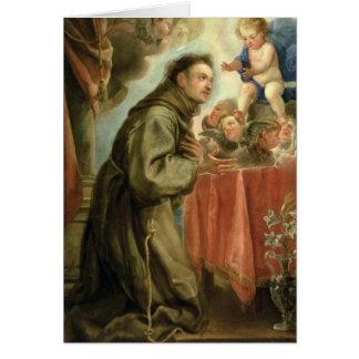 Carte St Anthony de Padoue adorant l'enfant du Christ
