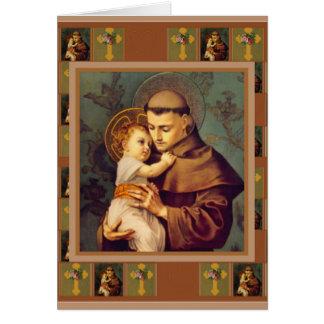 Carte St Anthony de Padoue avec les roses croisés de