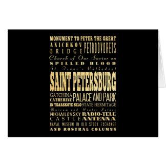Carte St Petersbourg d'art de typographie de la Russie