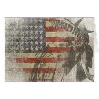 Carte Statue de la liberté sur le drapeau américain