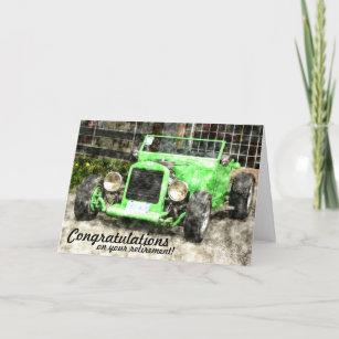 Carte Style peint par voiture classique vintage verte de