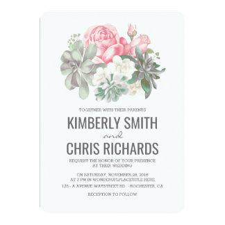 Carte Succulents et mariage simple élégant de fleurs