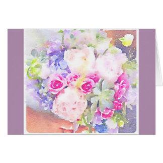 Carte Succulents et roses d'aquarelle