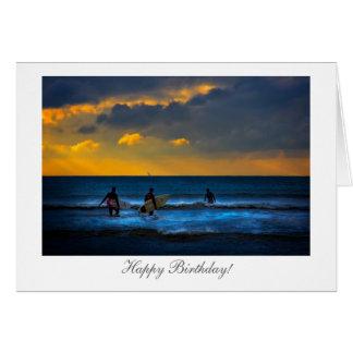 Carte Surfer au coucher du soleil - joyeux anniversaire