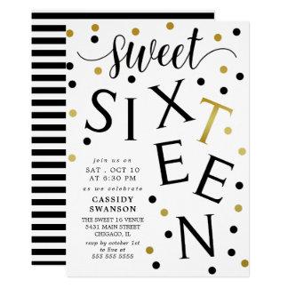 Carte Sweet sixteen de typographie d'or de noir et de