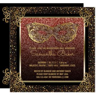 Carte Sweet sixteen d'or de rose de partie de mascarade