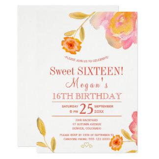 Carte Sweet sixteen floral chic de blanc de pivoines