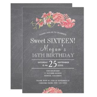 Carte Sweet sixteen floral chic de pivoines roses de