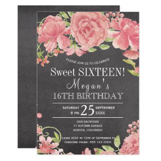 Carte Sweet sixteen rose floral rustique de chalkboad de