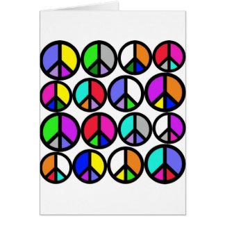 Carte Symboles de paix multicolores