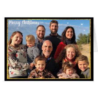Carte Tableau d'or de lettre de Noël de photo de famille