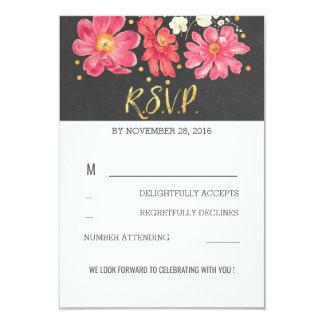 Carte Tableau floral de confettis d'or épousant RSVP