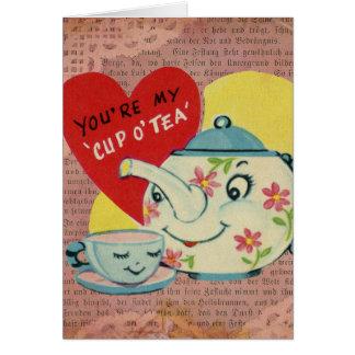 Carte Tasse de cru Valentine de thé