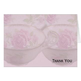 Carte Tasse de thé antique de rose de rose sur le mauve