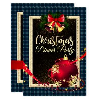 Carte Teal foncé a vérifié l'invitation de dîner de Noël