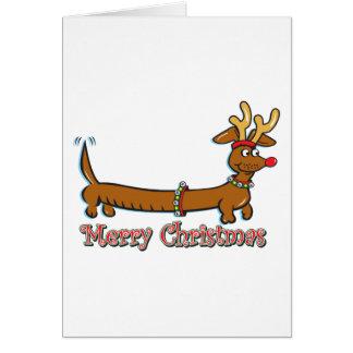 Carte Teckel de Joyeux Noël