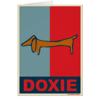 Carte Teckel, Doxie, dans le bleu