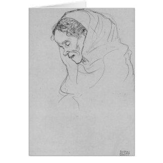 Carte Tête de dame âgée dans le profil par Gustav Klimt