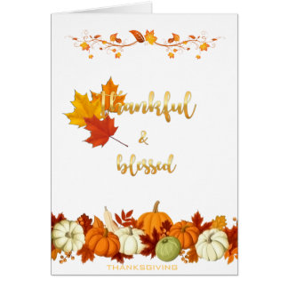 Carte Thanksgiving d'or reconnaissant et béni de