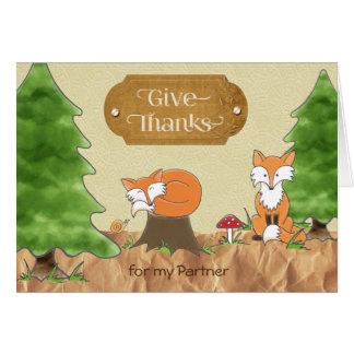 Carte Thanksgiving pour des renards en bois d'Album-y à