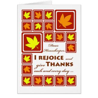 Carte Thanksgiving pour une femme de charge, feuille