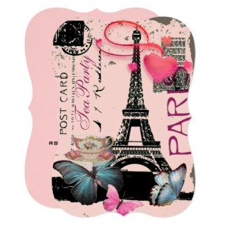 Carte Thé nuptiale de rétro Tour Eiffel rose de Paris