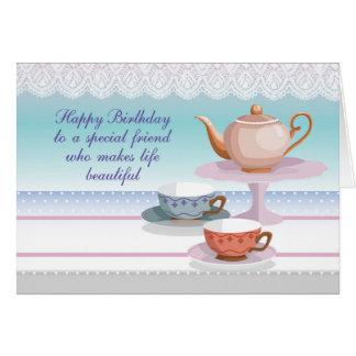 Carte Théière et tasses de thé d'anniversaire d'ami,