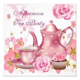 Carte Théière vintage de rose de rose de thé