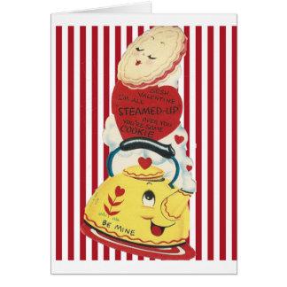 Carte Théière vintage Valentine avec des rayures