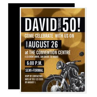 Carte Thème de moto, cinquantième anniversaire, or et