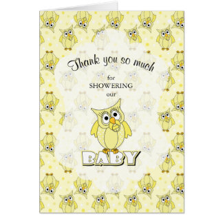 Carte Thème jaune de baby shower de hibou de point de
