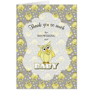 Carte Thème jaune et gris de baby shower de hibou de