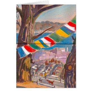 Carte tibétaine de drapeau de prière