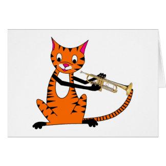 Carte Tigre jouant la trompette