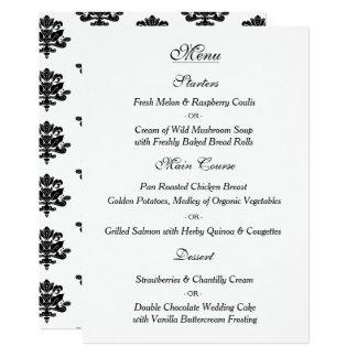 Carte tirée par la main de menu de mariage damassé