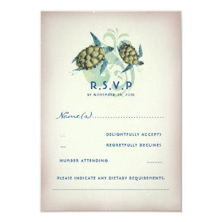 Carte Tortue de mer turquoise épousant RSVP