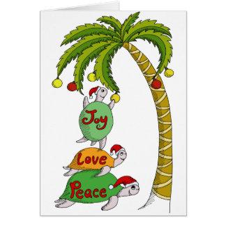 Carte Tortue hawaïenne Santa de Noël