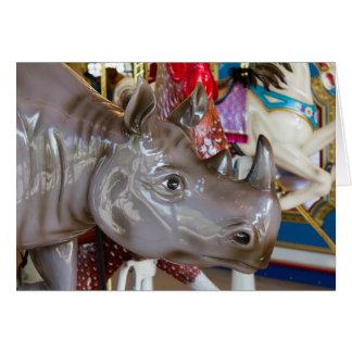 Carte Tour de carrousel de rhinocéros sur le manège