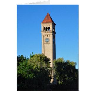 Carte Tour d'horloge au parc Spokane WA de façade d'une