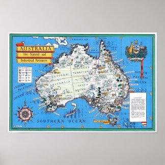 Carte touristique vintage australienne poster