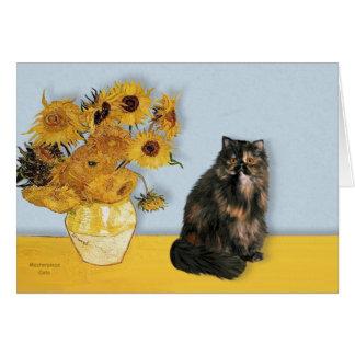 Carte Tournesols - chat de calicot persan