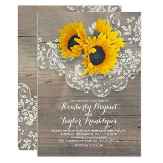 Carte Tournesols rustiques et mariage floral vintage de