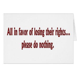 Carte Tous en faveur de perdre leurs droites….