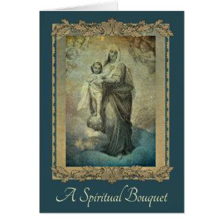 Carte traditionnelle de Vierge Marie de bouquet