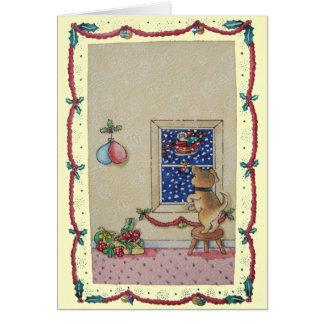 Carte Traîneau mignon drôle de Noël de chiot et de père