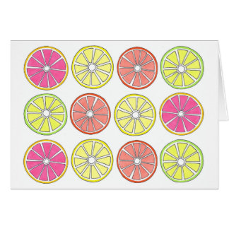 Carte Tranches oranges d'agrumes de chaux de citron de