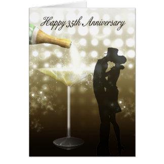 Carte trente-cinquième anniversaire - Champagne